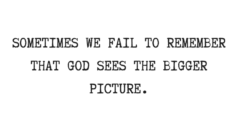 Sometimes we fail to remember that God sees the bigger picture.